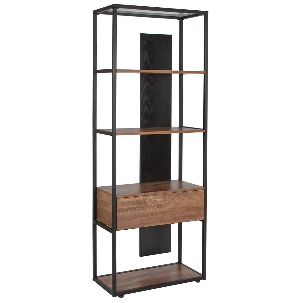 Carnegy Avenue 65 75 In Brown Black Metal 4 Shelf Standard Bookcase With Open Back Rustic In 2020 Bookcase With Drawers Bookcase Shelves