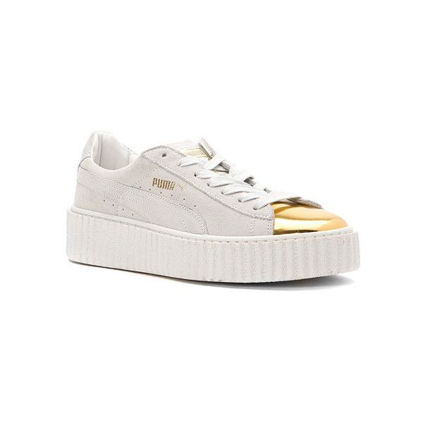 PUMA Suede Creeper Gold Sneakers ($110) ❤ liked on Polyvore