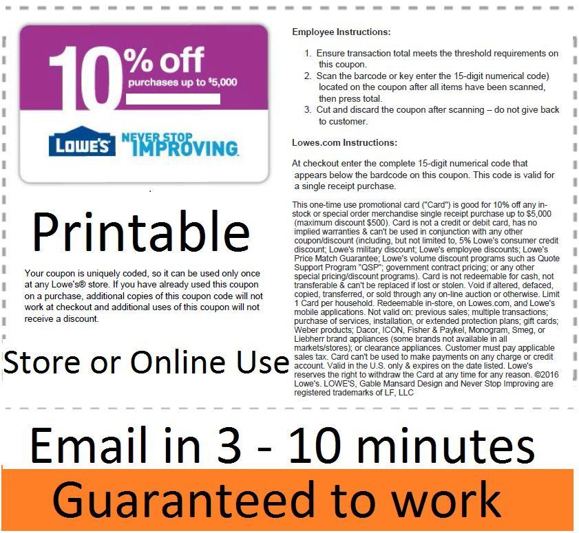 awesome ONE (1x) Lowe's 10 OFF PrintableCoupon Lowes