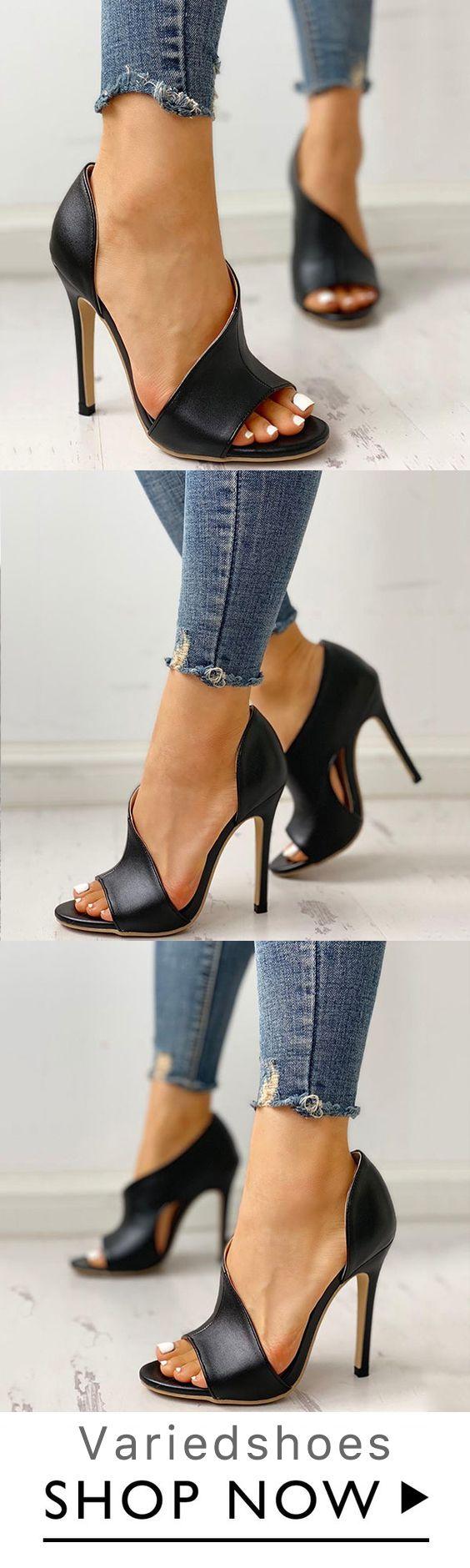 Cutout Peep Toe Thin Heeled Heels is part of Shoes -  Heels Upper Material Faux Leather Toe Peep Toe Closure Type Buckle straps Heels High Heel (10cm)