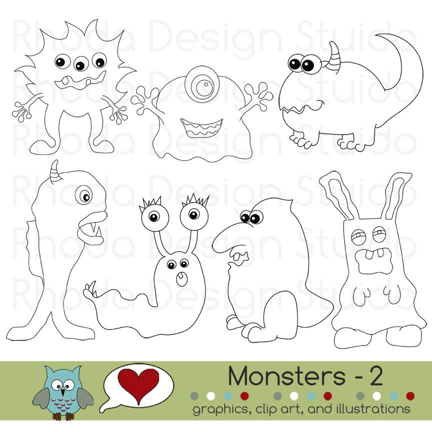 Free digital monsters clip art. Digital stamps for