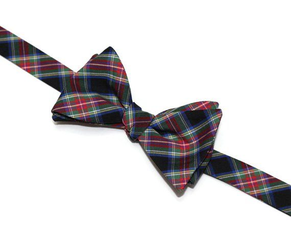 b030f93ab072 Mens Tartan Plaid Bow Tie~Red Green & Black~Self Tie Bow Tie~Pre-Tied Bow  Tie~Plaid Bow Tie~Groom Ti
