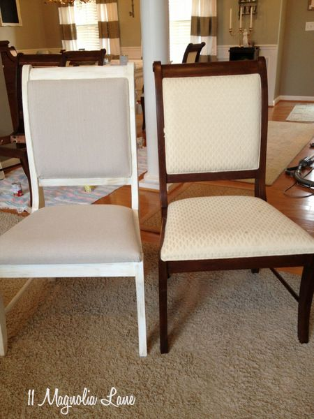 White Chalk Painted Dining Room Table & Monogrammed Chairs  Chair Pleasing Build Dining Room Chairs Design Inspiration