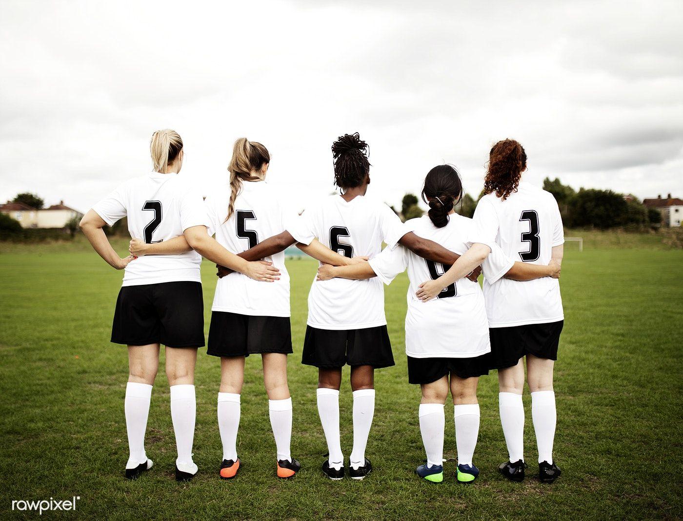 Download Premium Photo Of Female Soccer Players Huddling And Standing Female Soccer Players Soccer Players Soccer
