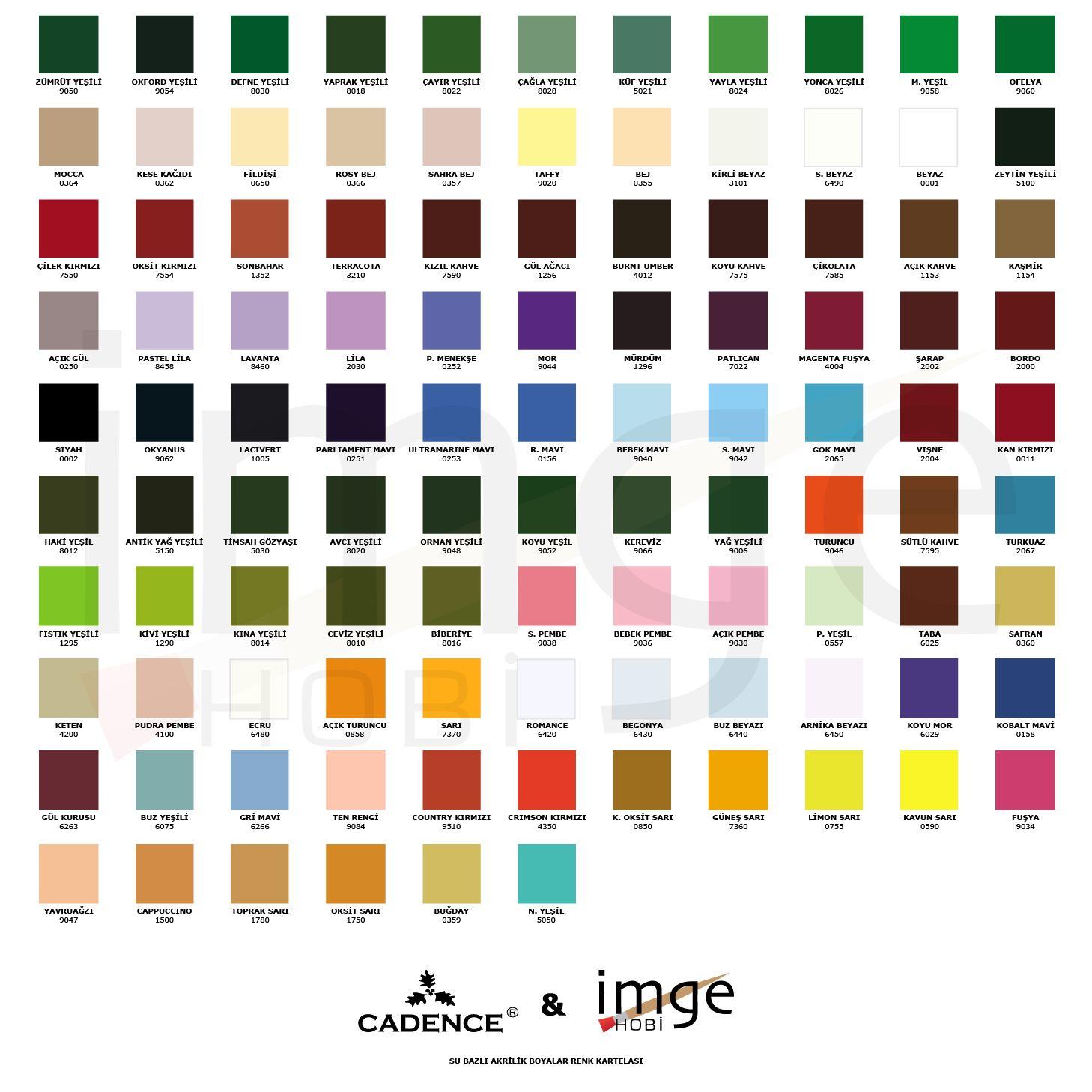 Cadence Akrilik Renk Katalogu Renkler Boya Renkleri Renk Semalari