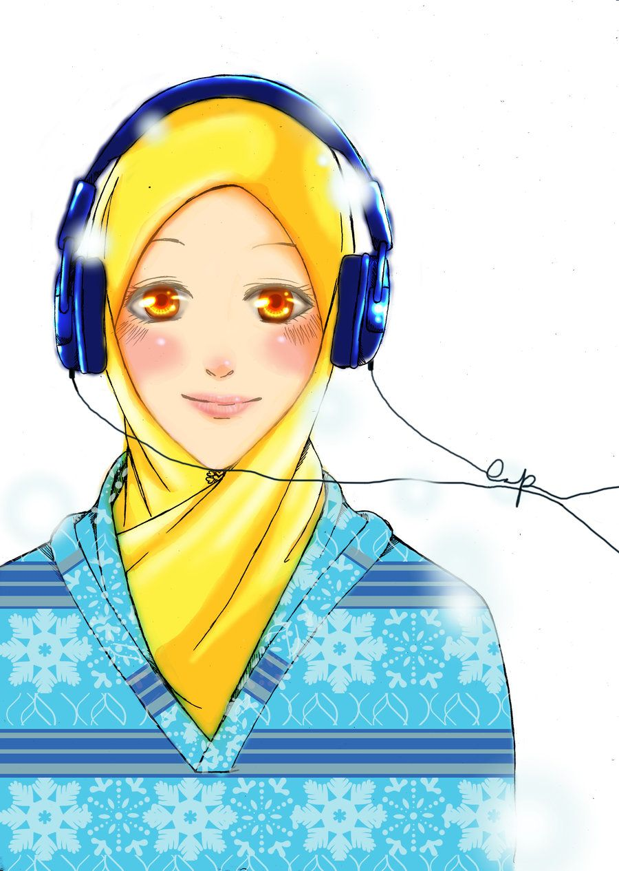 Smiling anime girl with headphones