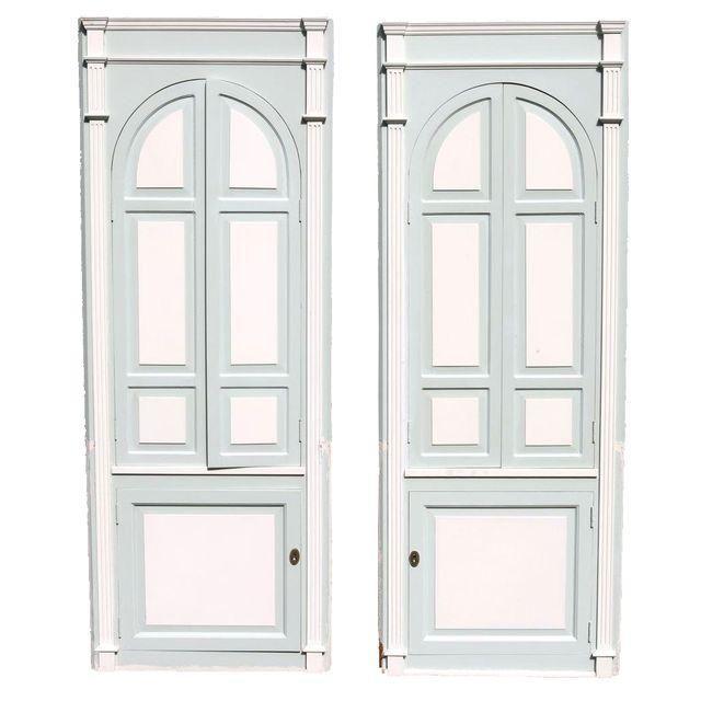 Custom Arch Panel Corner Cabinets - A Pair | Chairish