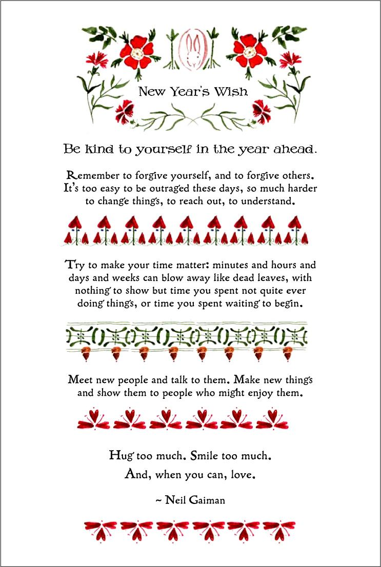 All of Neil Gaiman's New Year's quotes! Here's to a year