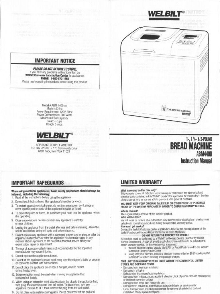 Welbilt Bread Machine Abm Original Instruction Manual  Manual