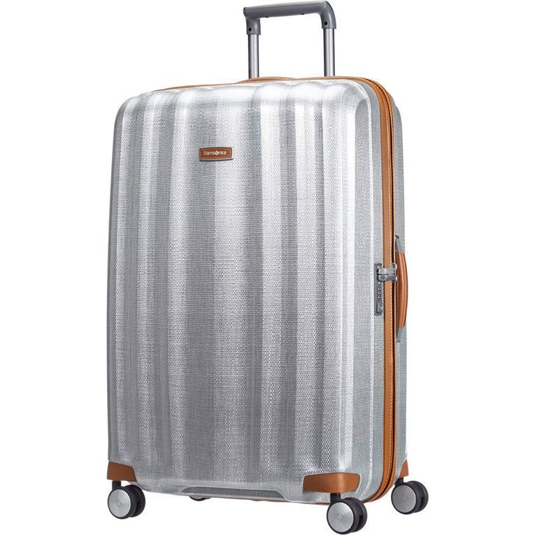 Samsonite Lite Cube Deluxe Large Suitcase in Silver | Buy 4 Wheel ...