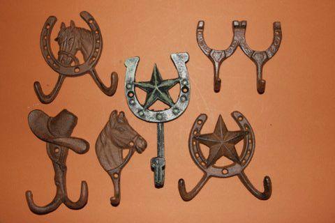 6 Laredo Connection Cast Iron Wall Hooks Western Decor Ranch Bath Decor   eBay