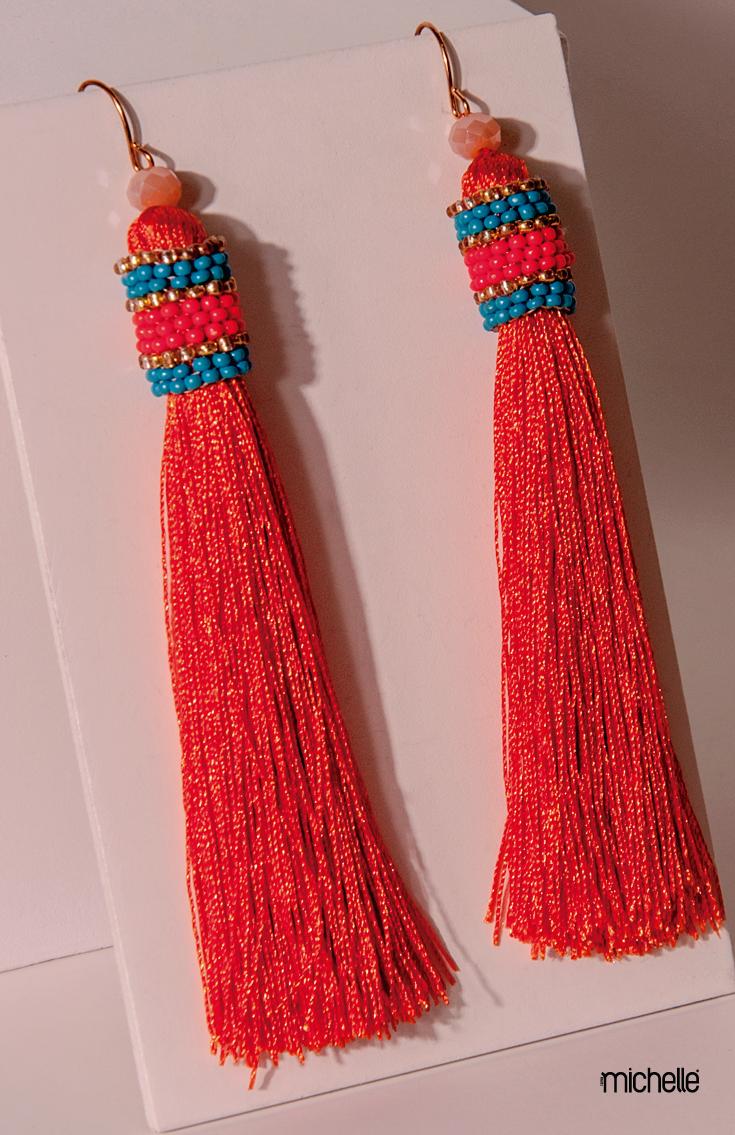 Señoras Oro Color Coral Hilo Borla Pendientes Fashion Jewellery