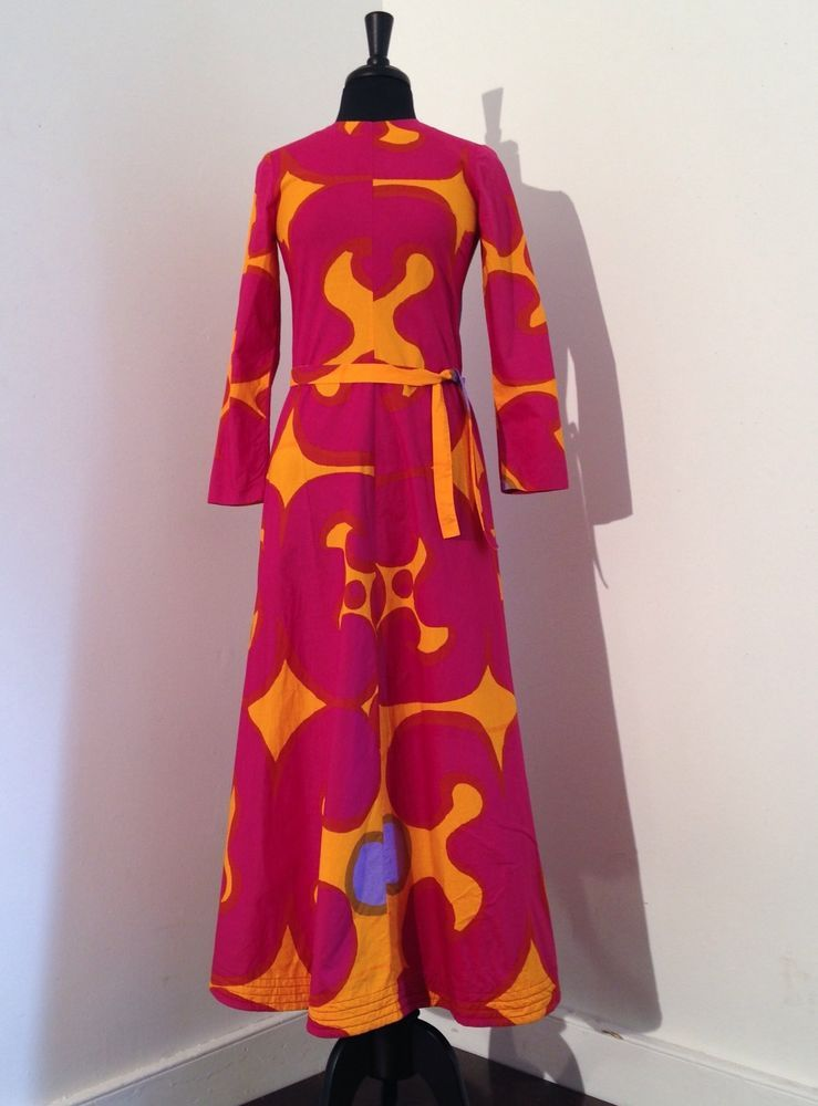 dd00399098a Vintage 1960s 60s Suomi Marimekko Mod Psychedelic Print Maxi Dress Gown  Finland in Clothing