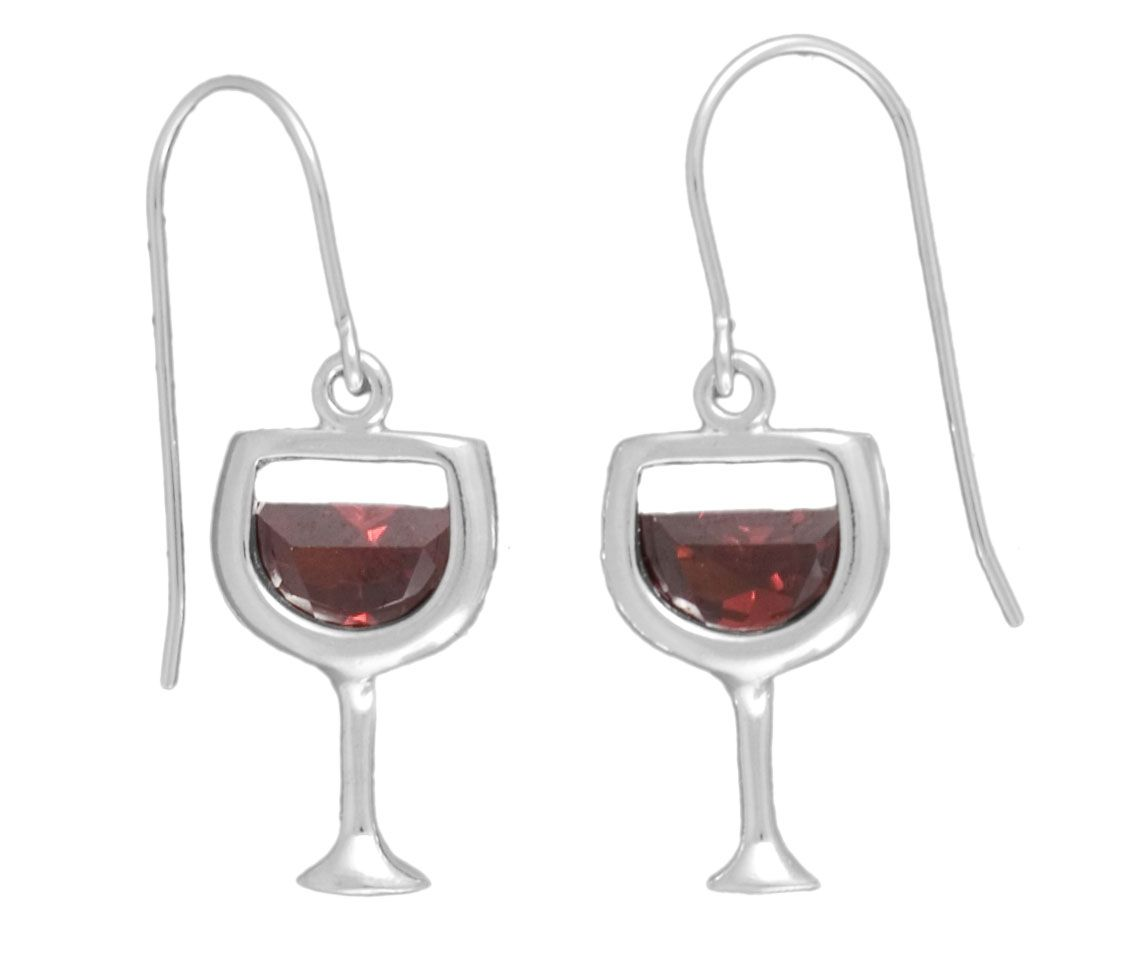 Amateur De Vin Sterling Silver Red Wine Earrings Sterling Silver And Ruby