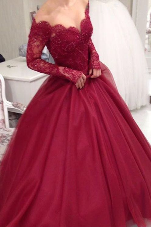 2019 Long Sleeves Tulle Prom Dresses A Line With Applique And Beads BUKP5XQJDAR