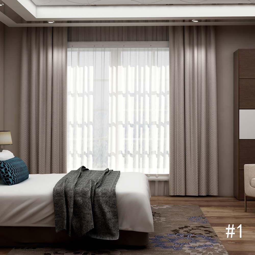 Rideau Occultant En Polyester Lin Couleur Unie Pour Chambre A
