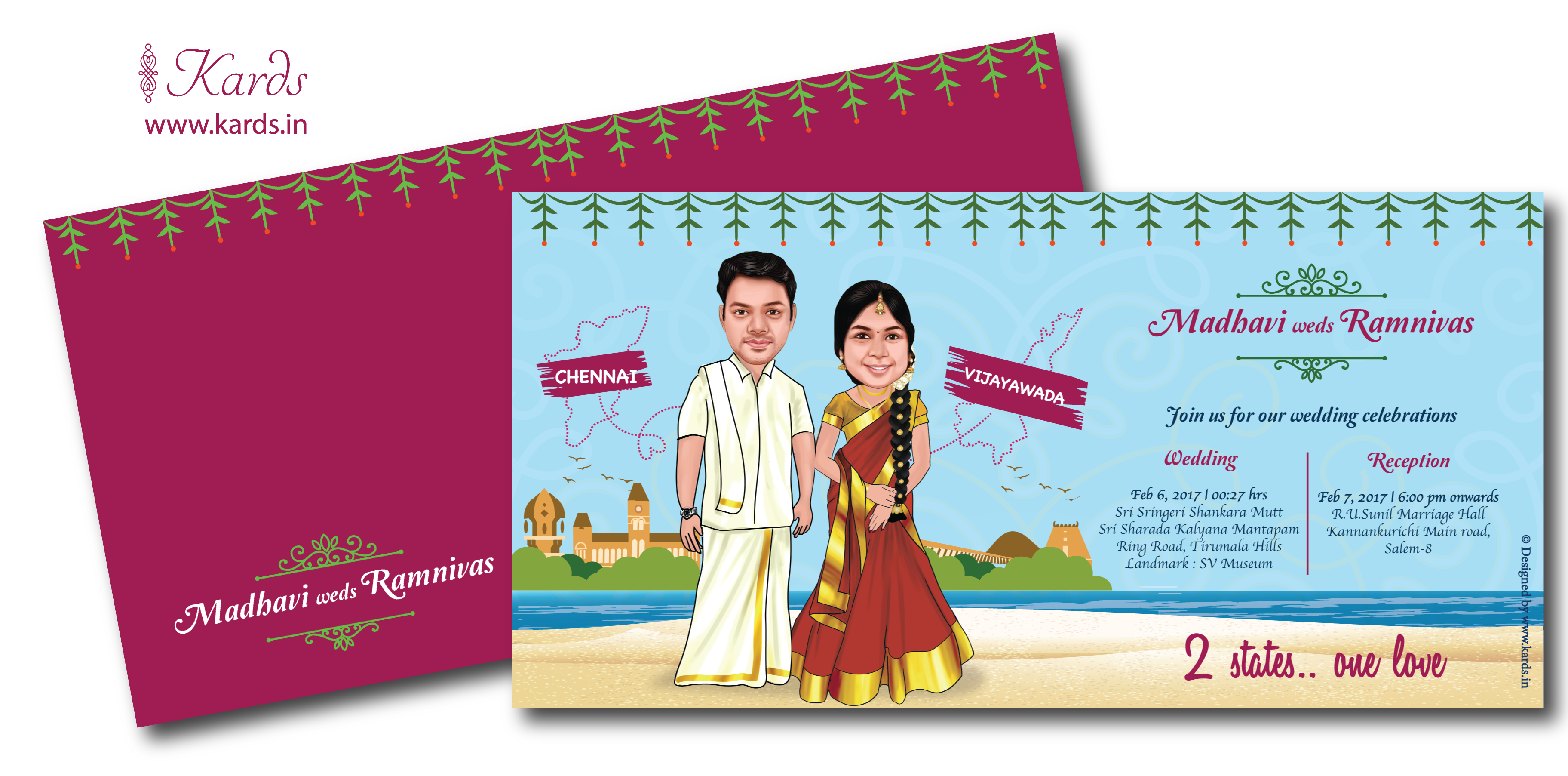 Yet Another Two States Themed Caricature Invitation For A
