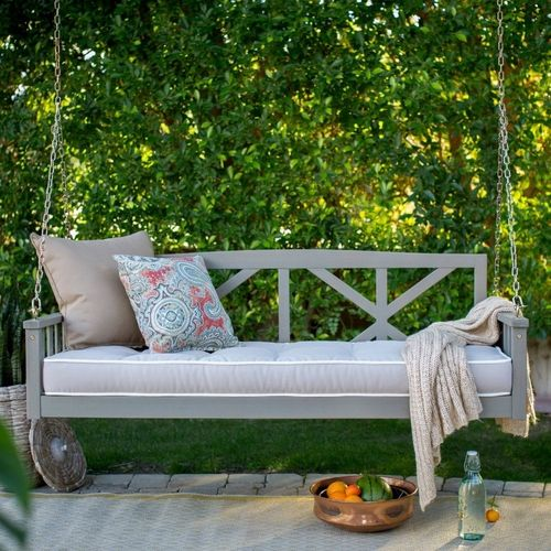 Deep Seat 64-inch Outdoor Patio Porch Swing in Driftwood with Cushion