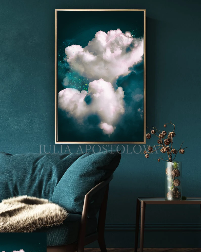Cloudpainting Cloudart Painting Print Dreamy Cloudscape Abstract Darkteal Wallart Juliaapostolova Art Cloud C Huge Wall Art Teal Art Teal Wall Art