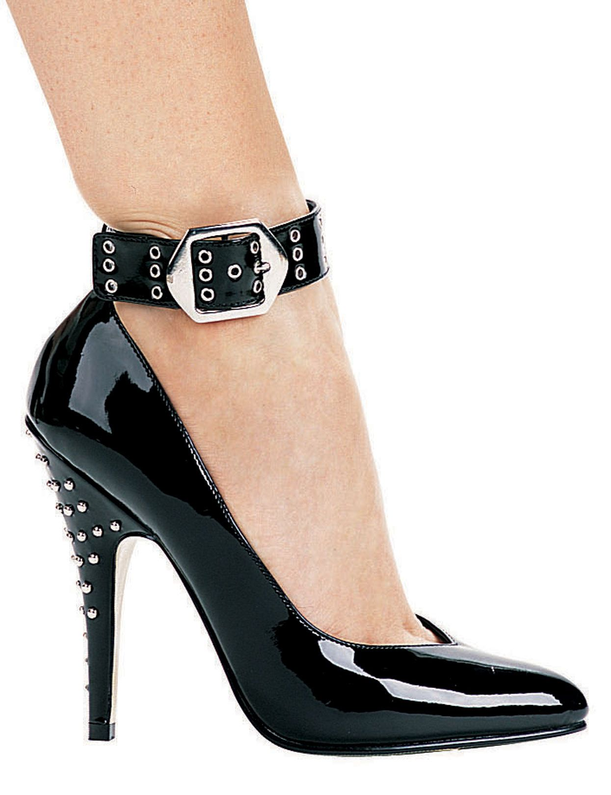 Studded Stiletto Heel Ankle Strap Pump 5 Inch Heel < Sexy Costumes
