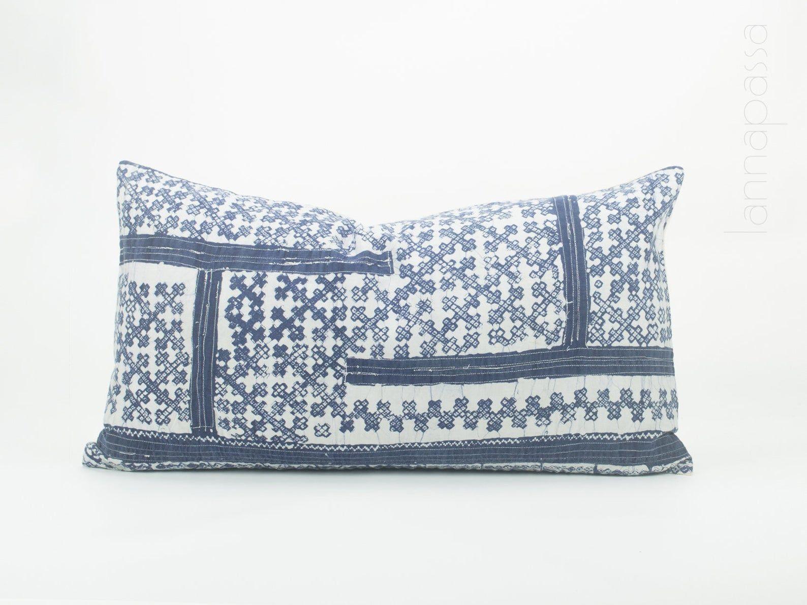 Blue cushion cover Hmong Throw Pillow Indigo Cushion Case decorative Accent ethnic Hmong fabric cushions cover Frazada cushions Batik Hemp