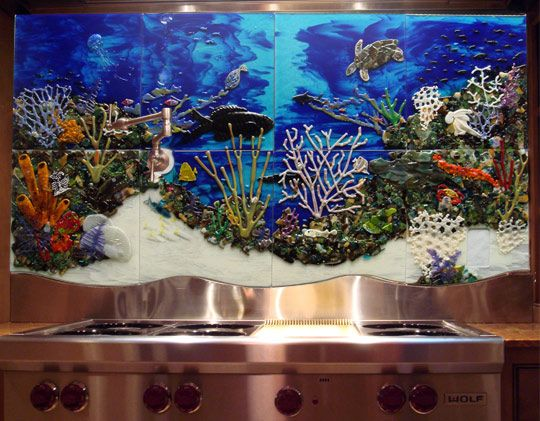 Custom glass tile mural underwater seascape in kitchen for Custom mosaic tile mural