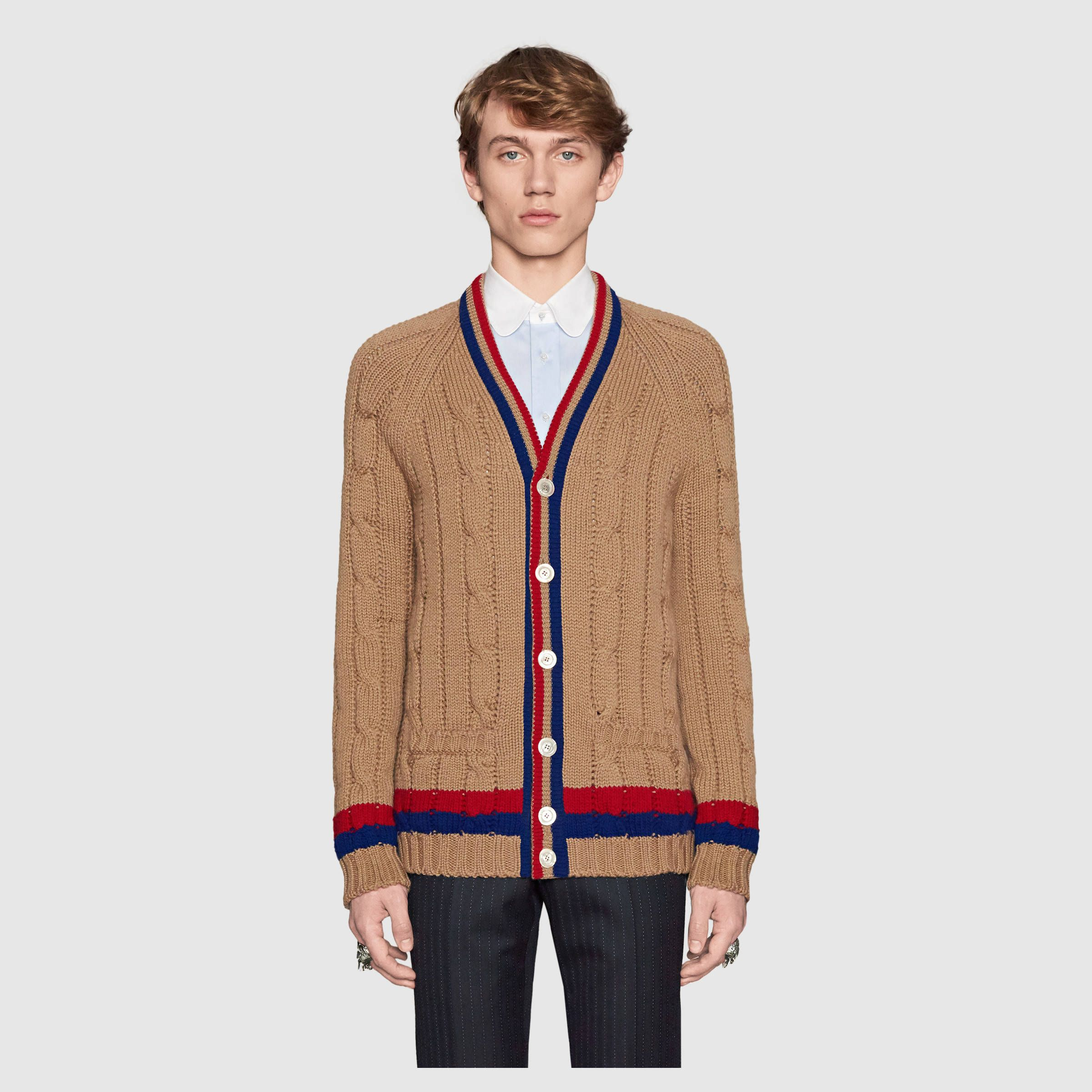 72366abd093 Gucci Wool cable-knit cardigan Scarf Vest