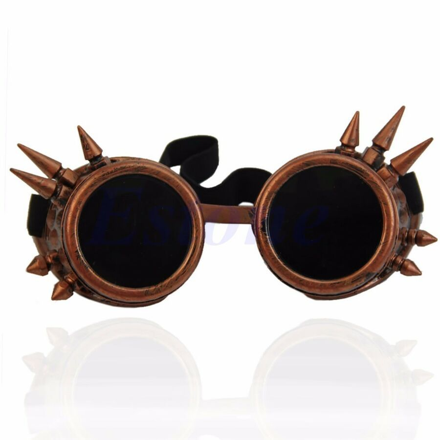 Vintage Rivet Gothic Steampunk Goggles Glasses Welding Punk Cosplay Brass NEW