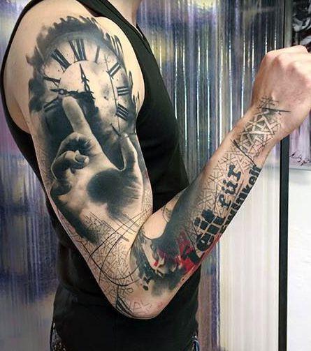 Tatuaże Męskie 3d Zegar I Dłoń Tattoos Tatuaże Męskie