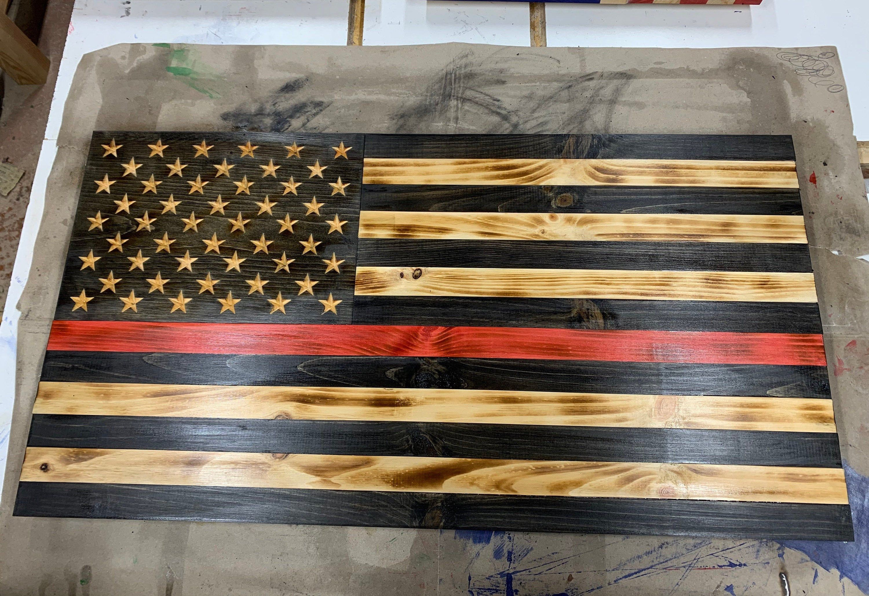 Thin Red Line Wood American Flag Firefighter Graduation Firefighter Academy Firefighter Gifts Firefighter Badge Firefighter Flag In 2020 American Flag Wood Wooden Flag Firefighter Decor