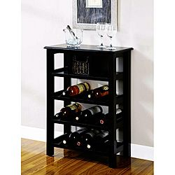 @Overstock - Materials: Wood, Wood Veneer Finish: Distressed Black Ample Wine Bottle Storagehttp://www.overstock.com/Home-Garden/Distressed-Black-Wine-Rack-with-Basket-Drawer/6391832/product.html?CID=214117 $163.99