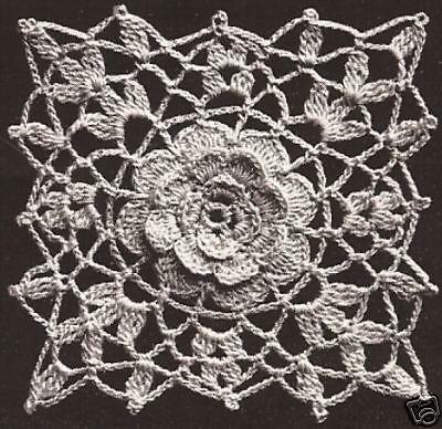 Vintage Crochet PATTERN to make Irish Rose Bedspread Motif Block ...
