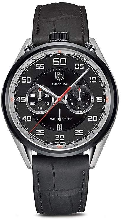 5ffae6a52ff Tag Heuer Carrera Calibre 1887 Chronograph Stainless Steel and Black  Leather Watch