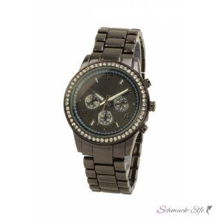 Damen Armbanduhr Edelstahl schwarz mit Strass
