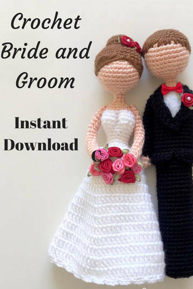 loving bride & groom amigurumi crochet doll pattern - wedding