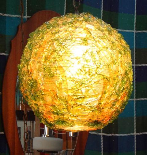 Vintage midcentury pendant ball lamp.