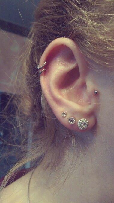 Double Helix Tragus Double Cartilage Hoops Triple Lobe Ear Rings Piercings Small Diamond Stud Earrings Tragus Earrings Hoop Piercings
