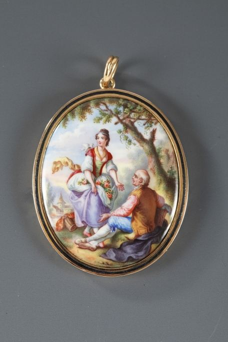 Enamel Pendant with Pastoral Scene with Gold Mounting