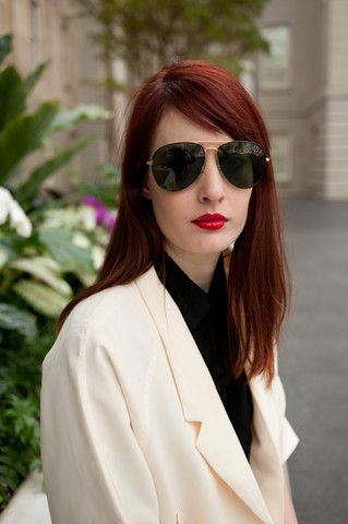 Red hair, red lips, Glasses