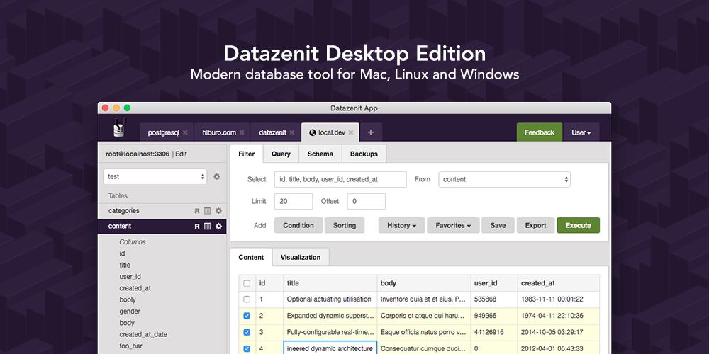 Datazenit Desktop App – Modern GUI for MySQL and PostgreSQL