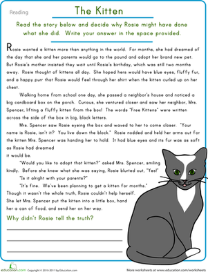 Reading Comprehension: The Kitten | Reading comprehension ...