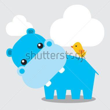Ilustração de pequeno hipopótamo azul