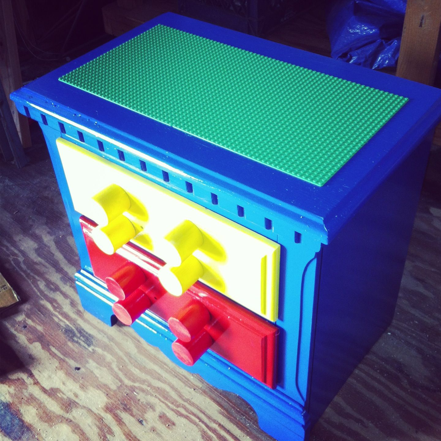 Old End Table That I Repurposed As A Lego Table!