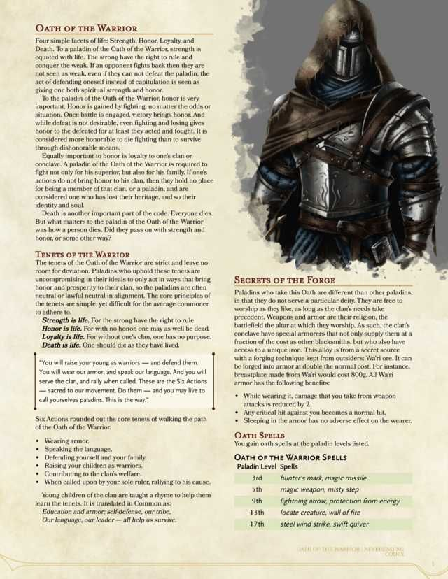Oath of the Warrior - a new 5e homebrew Paladin Oath that focuses on a walking a path of ...