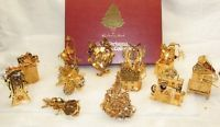 1997 Danbury Mint Collection of 12 Gold Christmas Ornaments in Box