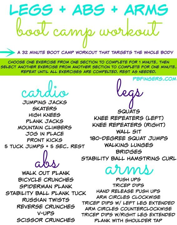 Legs   Abs   Arms Boot Camp Workout  With Images