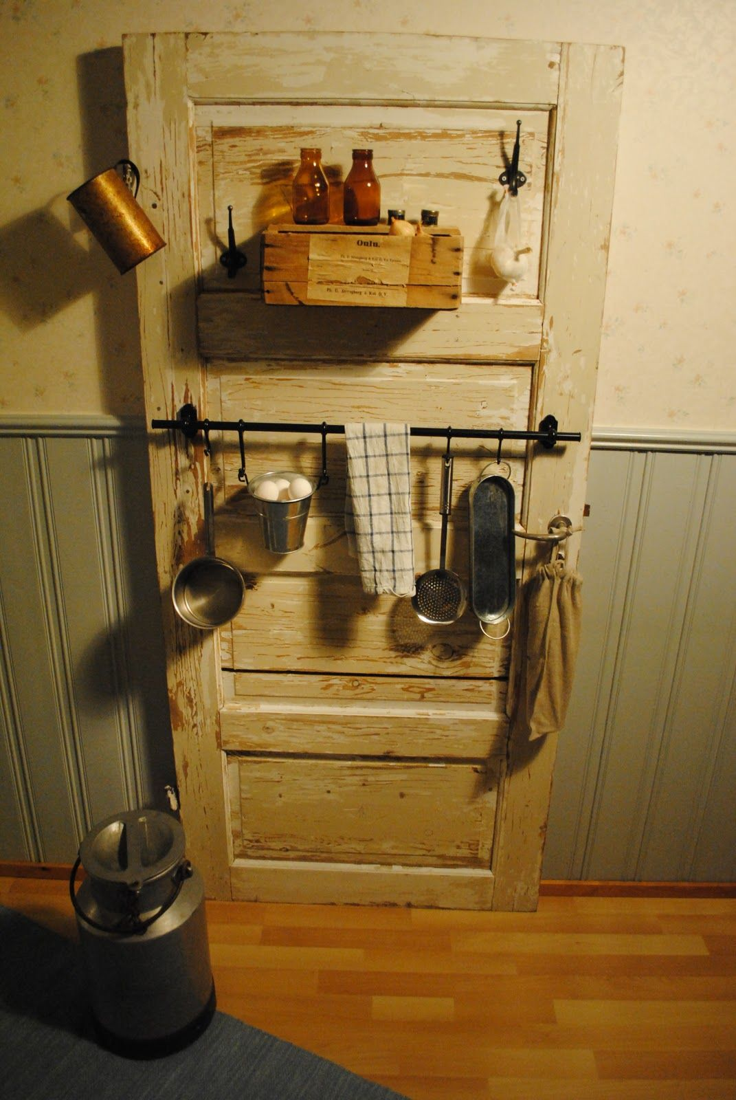 My old wooden door turned into a kitchen shelf | Garage ...