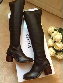 b925526dfd7 Celine Calfskin and Stretched Leather Barrel Heel Boot Fall 2015 ...