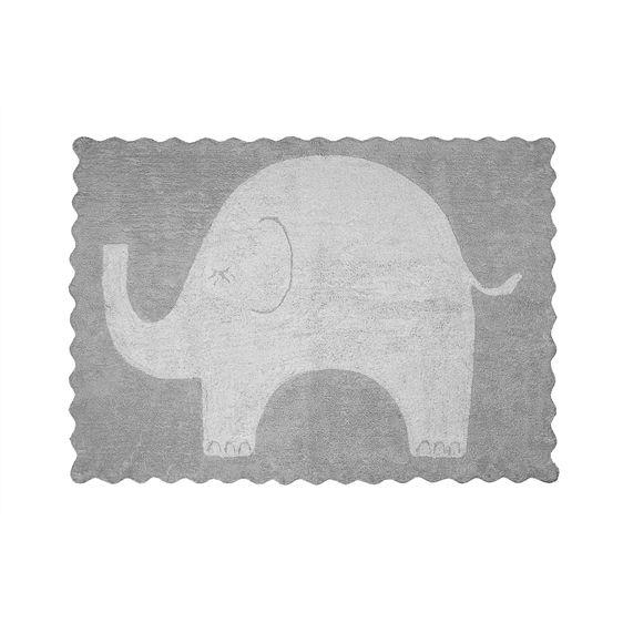 Alfombra infantil elefantito gris lavable en lavadora - Alfombras infantiles online ...