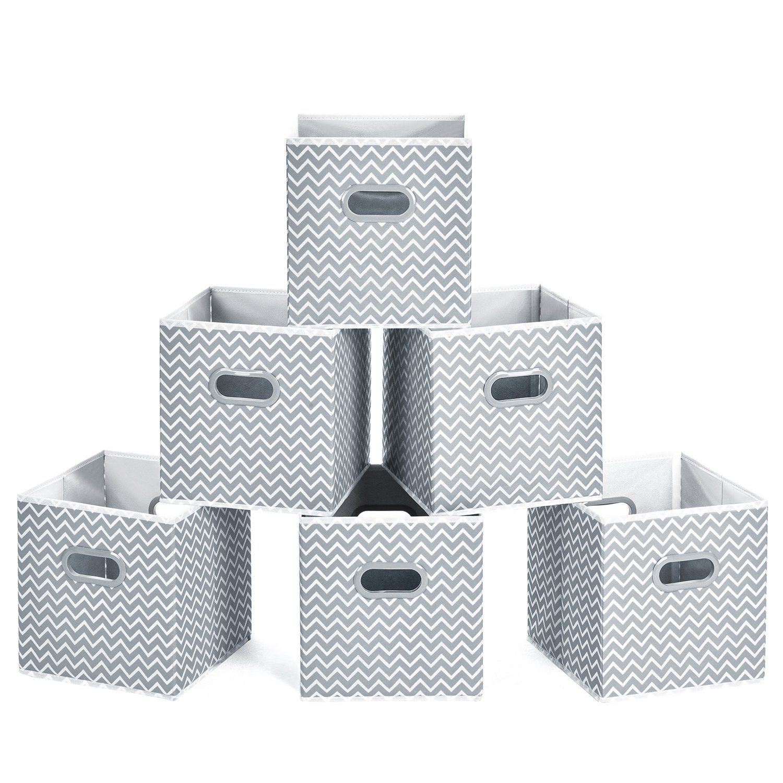 Gray Chevron Storage Cubes Cube Storage Bins Cube Organizer Bins Fabric Storage Bins